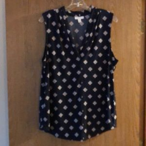 EUC XL Charter Club Navy sleeveless navy blouse